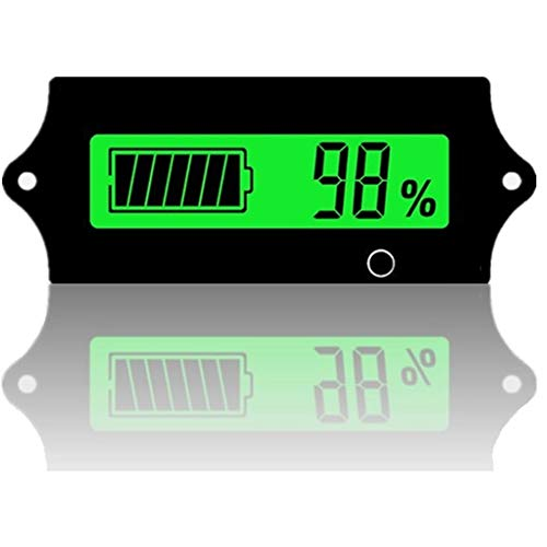 12v 24v 36v 48V Battery Voltage Meter rv with LCD Display Green Backlight,Battery Monitor Capacity Meter Level Indicator Voltage Gauge Meter for 2S-15S Lithium-Iron&Lead-Acid Batteries Auto Car