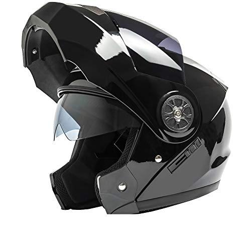 YXDDG Flip Casco Moto Anteriore Dual Sport Casco Viso Aperto Casco in Moto con Due Visiere per Adulto-neroC