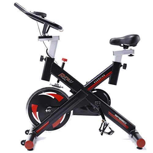 Pinty Pro Stationary Spin Bikes Indoor Exercise Upright Cycling Workout Gym Bicycle, 330lbs Weight Capacity with Reinforced Quiet Fly Wheels, LCD Screen, Tension Control & Fully Adjustable Handles Height,Front & Back