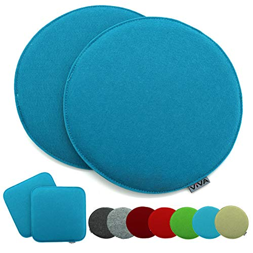 heimtexland ® 2er Pack Sitzkissen Filz Rund 35 cm Aqua Blau Filzkissen Stuhlkissen Polster Auflage Kissen Typ631