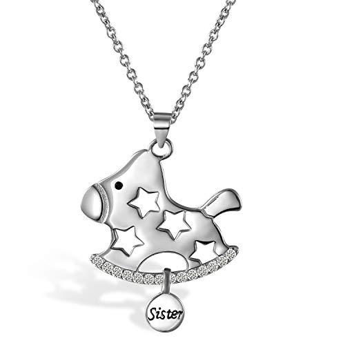 Aroncent 925 Sterling Silber Halskette Halsschmuck Set mit Schaukelpferd Stern Design Geschenk für Mädchen Damen