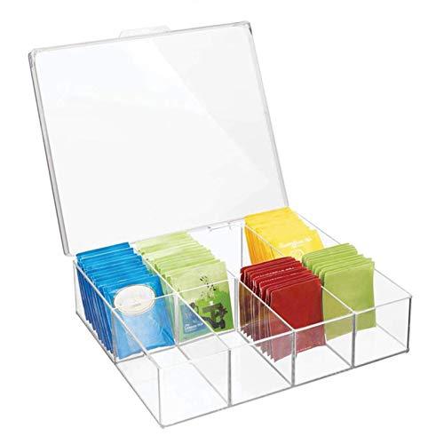 Further Tee-Aufbewahrungsboxen – Kunststoff-Teebox mit 8 Fächern für bis zu 100 Teebeutel – stapelbarer Teebeutelhalter – transparent