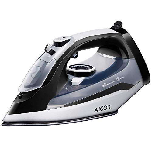 AICOK Steam Iron, 1400W Non-Stick Soleplate Iron for Clothes, Variable Temperature and Steam...