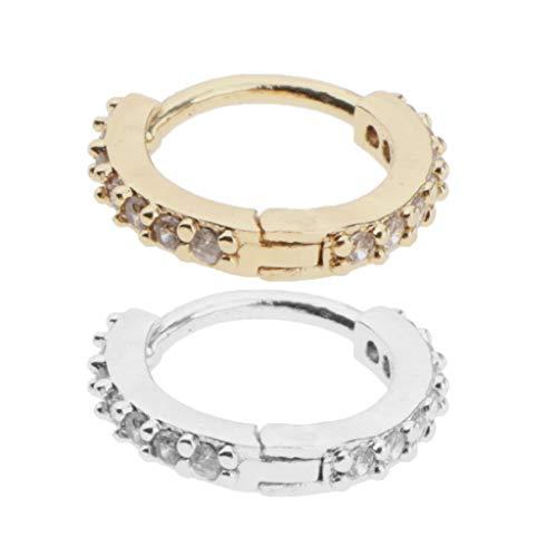 lahomia 2 Pieces Women's Round Huggie Earrings Copper Zircon Lobes Pierced Stud Earrings