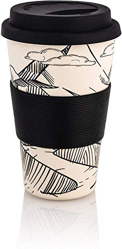 Premium Bambus Kaffeebecher to go | 400ml | Coffee to go Becher mit Deckel und Silikonmanschette | spülmaschinenfest | BPA frei | wiederverwendbar | umweltfreundlich & recyclebar (Berge/Schwarz)