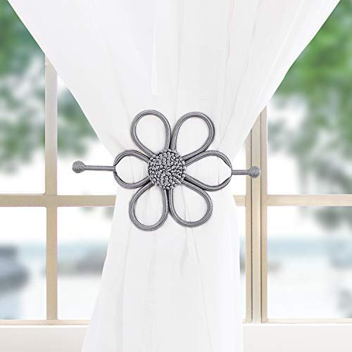 haod Gray Curtain Tiebacks 1 Pair, Flower Window Drapes Holdbacks, Decorative Sheer Curtain Tiebacks for Girl