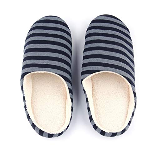YLWL Invierno cálido Suave Felpa Interior casa Zapatillas de Piso Mujeres/Hombres Zapatos de Tela a Rayas Amantes universales Zapatillas Antideslizantes (Azul Marino 44/45)