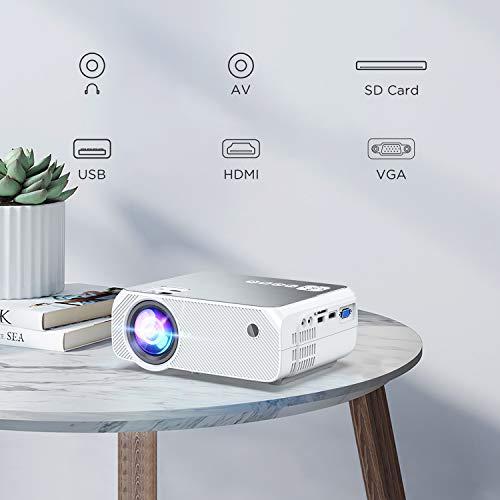 Proyector WiFi, Soporte Full HD 1080P, BOMAKER 5000 Lúmenes Resolución Nativa 720P Inalámbrico Mini Cine en Casa Portátil, Presentación en Casa, HDMI/USB/VGA/AV/Micro SD