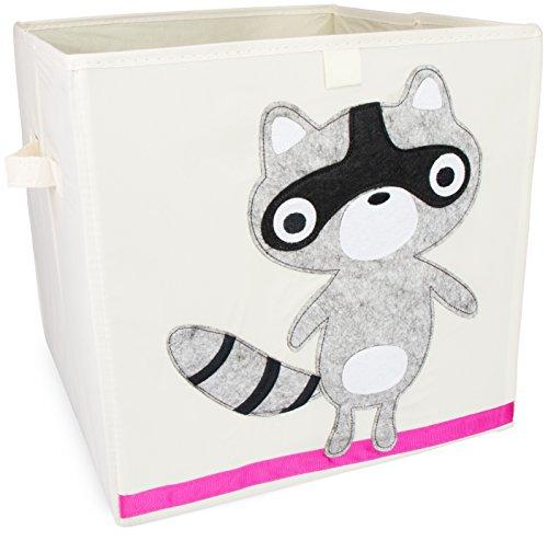 Grinscard Spielzeugkiste im Raccoon Design - ca. 34 x 33 x 33 cm - Spielkiste zur Spielzeug Aufbewahrung