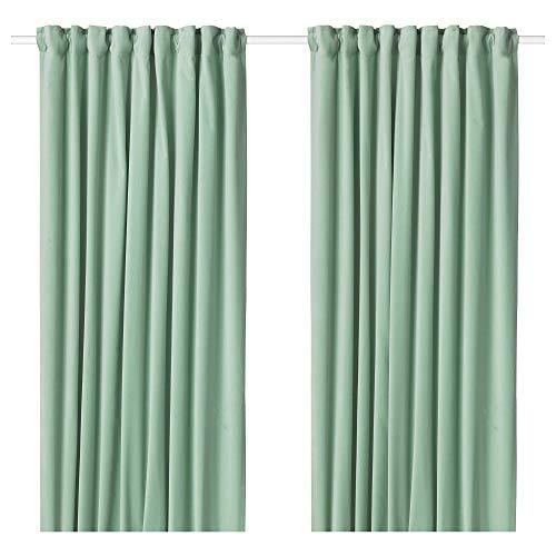 IKEA.. 604.189.05 Sanela Curtains, 1 Pair, Light Green