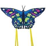 Cometas Mariposa para Niños y Adultos con Cola Larga, Hermosas Cometas para Niños, Ideales para Principiantes, Fáciles de Volar para Juegos al Aire Libre, Viaje a la Playa 130*60cm Azul