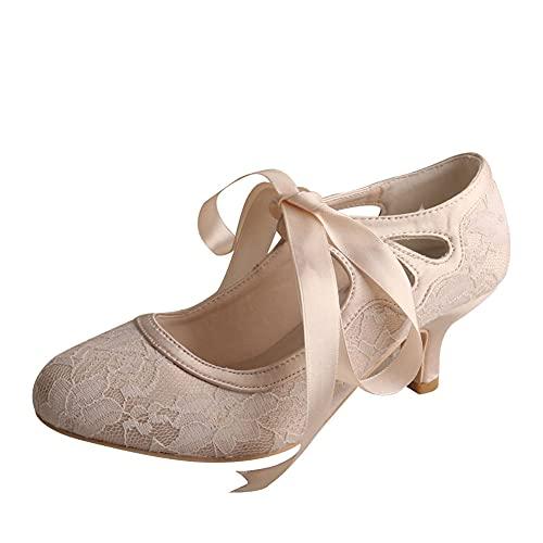 Mujer Encaje Zapatos De Novia Punta Cerrada Tacón Bajo Mary Jane Salón...