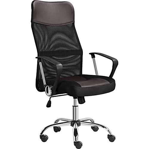 Yaheetech Bürostuhl ergonomischer Schreibtischstuhl Computerstuhl, 360° Drehstuhl, chefsessel mit kopfstütze, Hohe Netzrückenlehne, für's Büro oder Home-Office Braun