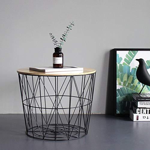 Nachtkastje LKU Wind ijzer bijzettafel kleine salontafel massief houten kleine ronde tafel nachtkastje hoek opbergmand, 30x35x40cm zonder hoes