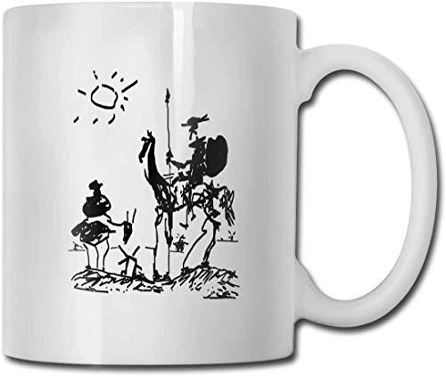 NA Taza de café con ilustración de Don Quijote de Picasso - Regalo Blanco de 11 oz para Amigos Amantes Padres en cumpleaños de Navidad