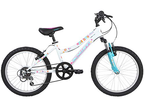 Schwinn Shade 20 inch Wheel Girls Front Suspension Bike, 6 Speed, White with Kids Flower Design (Age 5 to 8 years)