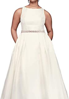 High-Neck Mikado Plus Size Ball Gown Wedding Dress Style 9WG3879