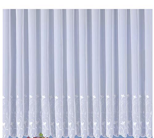 wohnfuehlidee Voile-Fertigstore Cosima, mit Stickerei, Kräuselband-Aufhängung, transparent, Farbe weiß Größe HxB 143x300 cm
