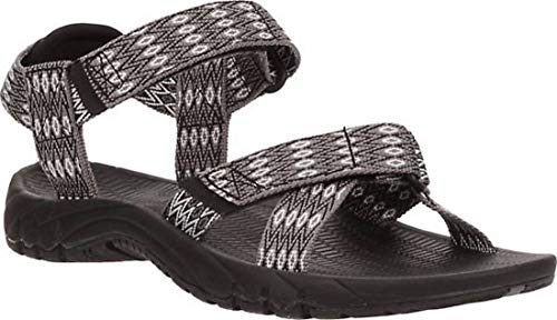 Magellan Outdoors Women's River II Sandal, (Black/White, Size 7 M US)