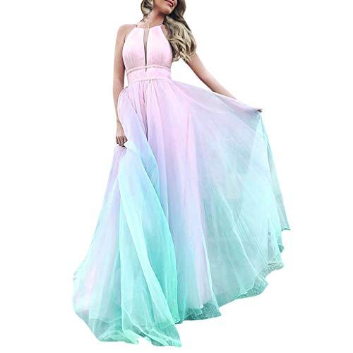 MAYOGO Sommerkleider Damen Lang Mesh Tüll Neckholder Kleid Elegant Ombre Brautjungfernkleider Abschlusskleid