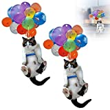 Cat Car Hanging Ornament 2D, Cat Car Hanging Accessories with Colorful Balloon, Natseekgo Car Mirror Hanging Accessories Creative Cute Cat