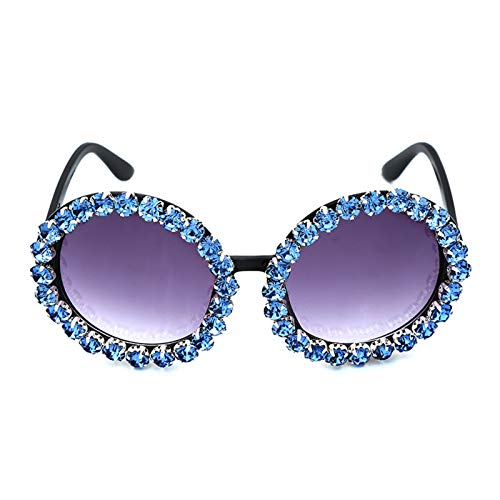 XHJLNNY XINHEJULN Gafas de Sol de señoras Hechas a Mano de Cristal Diamante, Gafas Redondas Espejo Espejo magnífico Gafas de Sol de Verano Exquisito y aplicable (Lenses Color : Sky Blue)