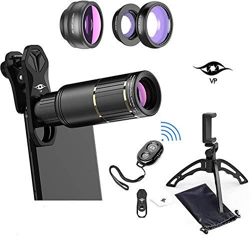 ViewPoint Kit de lentes de teléfono para cámara de teléfono [actualizado 2021] 16X Zoom Objetivo Telephoto - Gran Angular - Macro -...