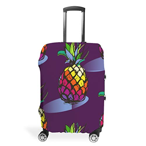 Toomjie Travel Luggage Covers Washable Spandex Travel Suitcase Protector Jacket Dust-Proof Anti-Thief Case Pineapple Fruit Print White m (60x81cm)