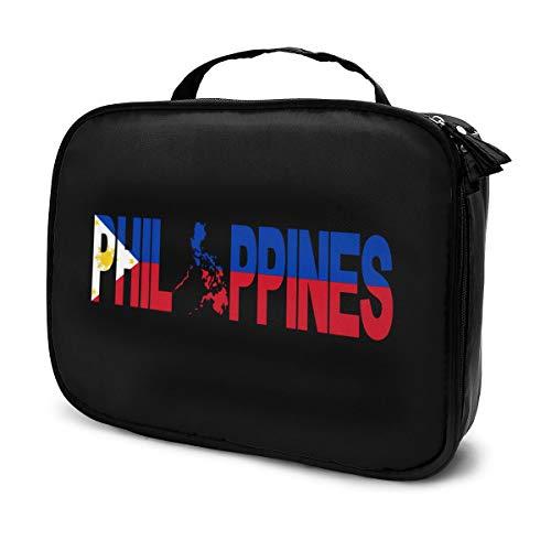 Kosmetikkoffer mit Philippinen und Landkarte auf der Flagge, Reise-Make-up, Train, Kosmetiktasche, Organizer, tragbare Aufbewahrungstasche für Künstler