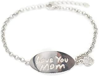 GLOBAL HUNTRESS Sterling Silver S925 Love You MOM Chain Bracelet Delicate Open Circles Glisten Side-by-Side on The Wrist (Gift Boxed)