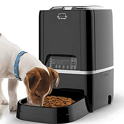 TDYNASTY DESIGN Automatic Cat Feeder, 6.5L Timed Programmable Auto Pet Dog Food Dispenser Feeder for Cat Dog - Portion Control Up to 4 Meals/Day, Voice Recording, Battery and Plug-in Power
