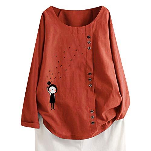 TUDUZ Blusas Mujer Manga Larga Camisas Botón Camisetas Impresión Tops Suelto Talla Extra M-5XL