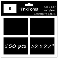 ThxToms 100個黒板ラベルステッカー、high-class防水とRewritable Jarsフォルダ分類の Large B - 100Pcs