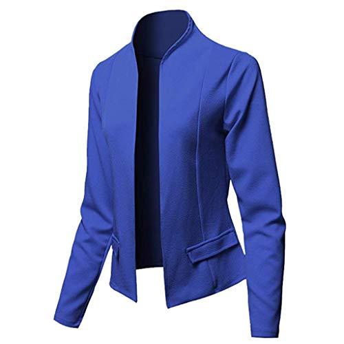 Linkay Damen Blazer Ärmel Anzugjacke Business Jacke Büro Lange Ärmel Elegant Cardigan top Gefüttert Slim Fit Anzug Trenchcoat Sakko Einfarbig(Blau,X-Large)
