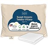 Toddler Pillow & Pillowcase | Pillow - Organic Cotton Shell Made in USA 13X18 Inch | Bonus Organic Pillowcase White 14x19 Inch Machine Washable | for Toddler 2-5