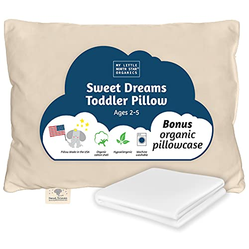 Organic Toddler Pillow, Made in USA (13'x18') and carrying bag By My Little North Star