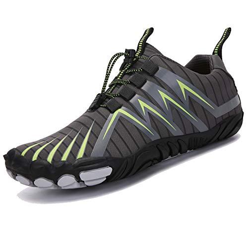 Unitysow Hombre Zapatilla Minimalista de Barefoot Trail Running Calzado de Correr en Montaña Sneakers Versátil Aire Libre Deportes Gym Asfalto Playa Zapatos de Agua,Gris,41