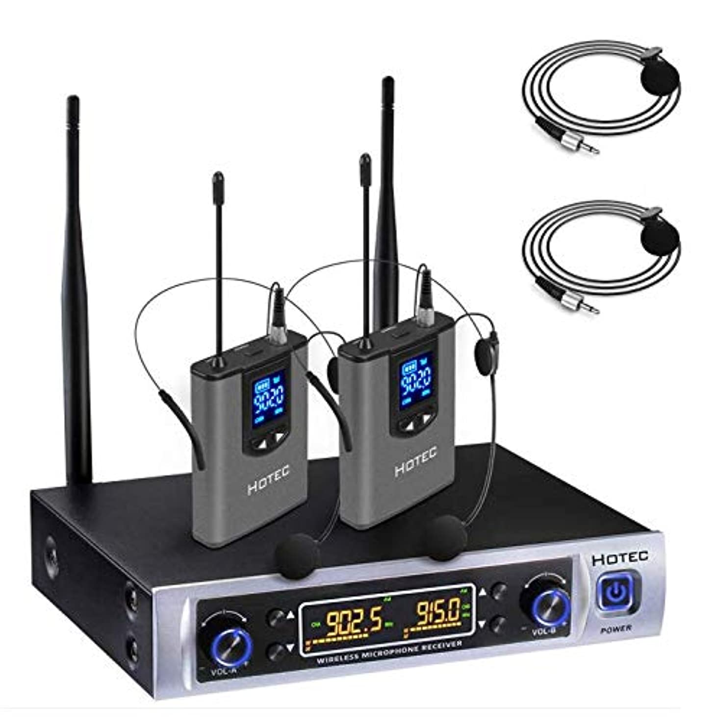 Hotec UHF 64 Channel Wireless Microphone System with LCD Display and Dual Headset Microphone Over PA, Mixer, Speaker, Karaoke Machine For Church, Training, Classroom, Interview, Business Presentations