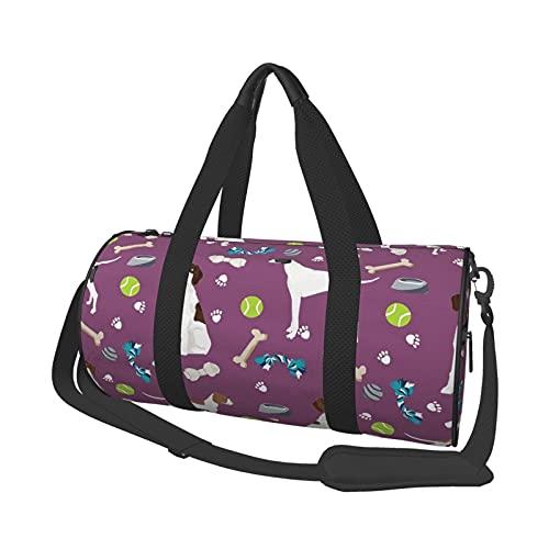 Bolsa de deporte para gimnasio, ligera, potable, de lona, bolsa de hombro, con puntero inglés, para perros y juguetes, color morado