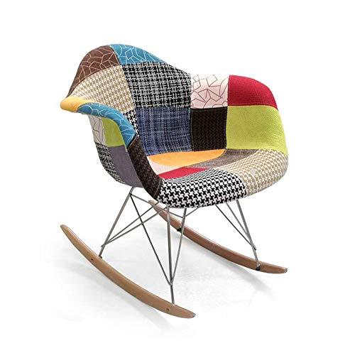 Vetrineinrete Sedia a dondolo stile patchwork poltrona in tessuto strutta metallo e legno multicolor