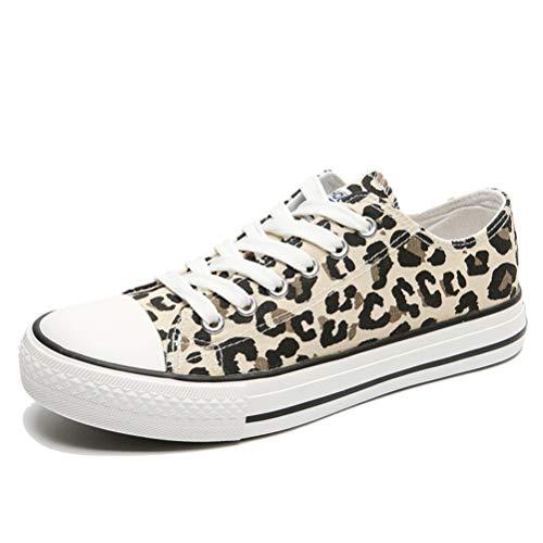 Leopard Classical Women Low-Top Trainers Ligero Amortiguación con Cordones Zapatos Planos de Lona Zapatillas Antideslizantes para Exteriores Zapatillas de Fondo Suave