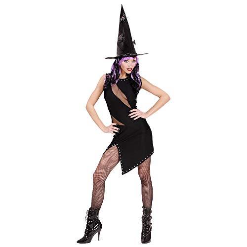 Widmann 89753 89753-Kostüm genietetes Kleid, 3 in 1 Kostüm, Hexe, Katze, Rockerin, elastan, Fasching, Mottoparty, Karneval, Halloween, Damen, Schwarz