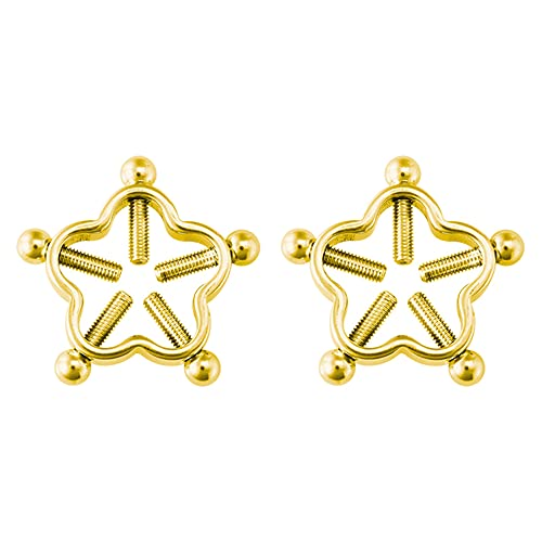 Happy 2Pc Non Piercing Nịpple Ring for Women Flower StainlSteel Screw Fake Nịpple Clamp Shield Ạdult Game sẹxy Breast Body Jewelry NP11028GD-2pcs