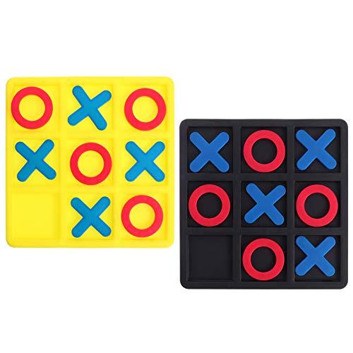 Toyvian 2 Stück Tic Tac Toe Spiel für Kinder Klassische Holz Brettspiel Familie Interaktive Spiele für Couchtisch Wohnzimmer Schreibtisch Dekor