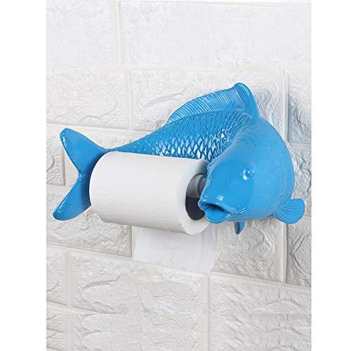 CLX Rollenhalter für Badezimmer-Tür-Roller-Wand für Küche, Handtuch Toilettenpapier, kein Bohren NI Schraube, die Form der Fische,Blau