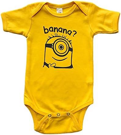 PandoraTees Short Sleeve Baby Bodysuit Banana Yellow 12 18m product image