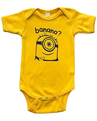 PandoraTees Short Sleeve Baby Bodysuit - Banana?, Yellow, 12-18m