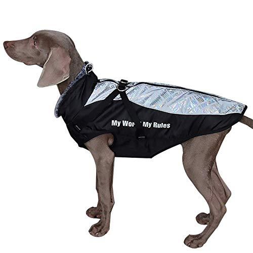 Dociote Wintermantel mit Geschirr reflektierende & Winddichte Winterjacke Hundemantel mit Gurte und D-Ring Hundejacke für mittelgroße große Hunde 5XL Buchstaben Druck