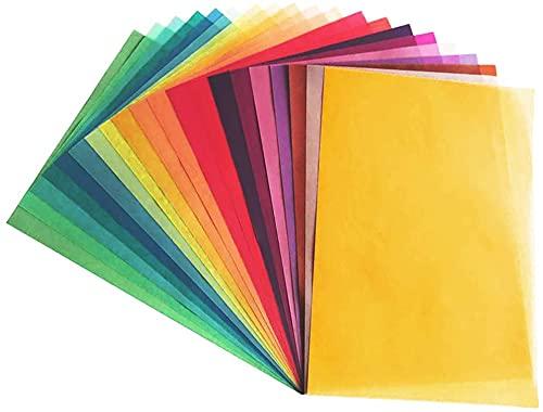 20 Seiten Transparentpapier in 20 bunten Farben | DIN A4 | 110 g/m² | buntes Pergamentpapier | Buntes transparent Papier zum Basteln | Tracing Paper A4 | Laterne basteln