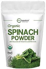Micro Ingredients Spinach Powder Organic, 1 Pound, Non-GMO and Vegan Friendly. Rich in Immune Vitamins (Vitamin B2, Vitamin B12, Vitamin C and Vitamin D), Minerals (Magnesium, Copper, Potassium, Calcium, Iron, Manganese and Zinc Vitamin), Omega 3, Fa...